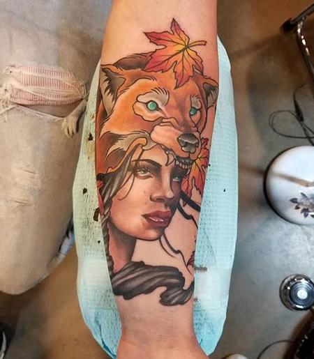 Tattoos - Girl w/Wolf headdress - 128480