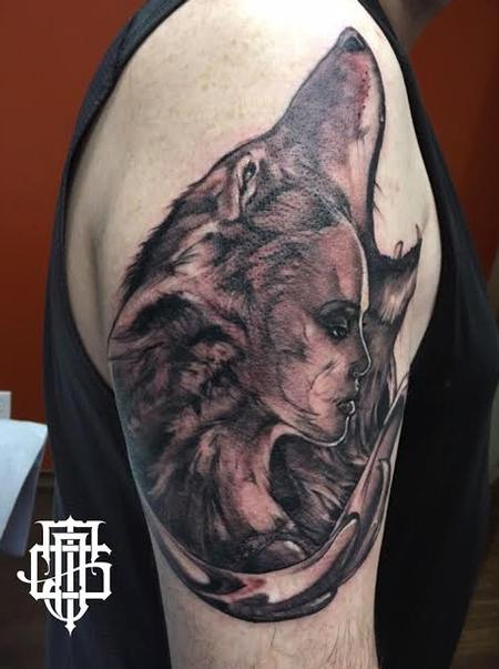 Tattoos - Wolf/Lady faces - 128208