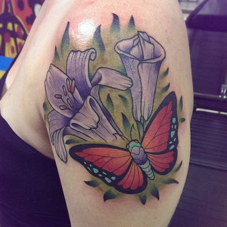 Tattoos - Butterfly and Flowers - 106751