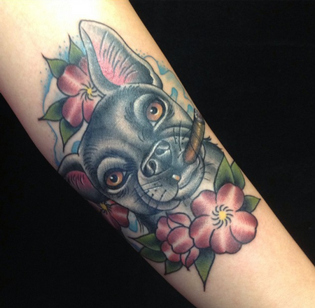 Tattoos - Dog with Cigar Tattoo - 99840
