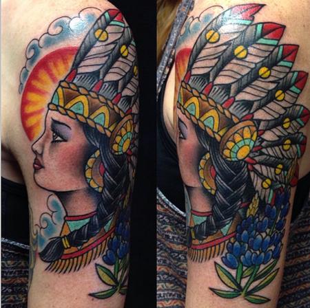 Woman with Headdress Tattoo  Tattoo Design Thumbnail