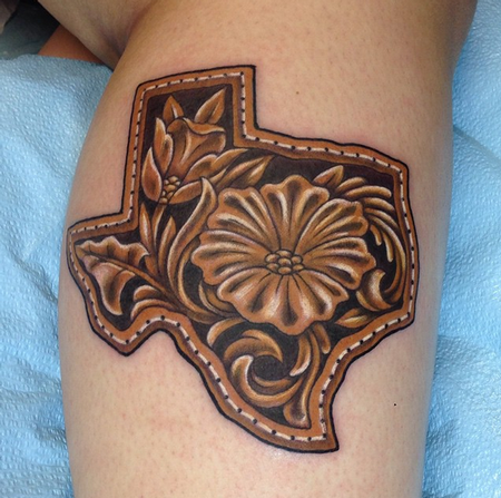 Leather Tooled Texas Design Thumbnail