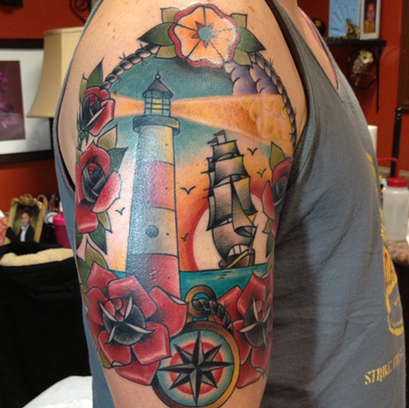 Lighthouse Ship Half Sleeve Tattoo Tattoo Design Thumbnail