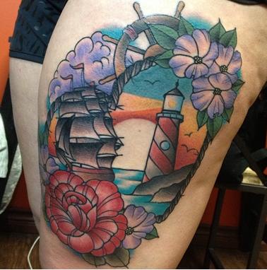 Lighthouse Ship Tattoo Tattoo Design Thumbnail