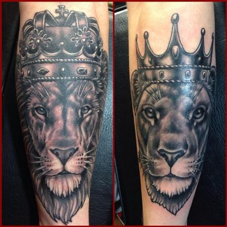 Tattoos - Couple Lion Tattoos - 111670