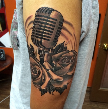 Microphone and Roses Tattoos Tattoo Design
