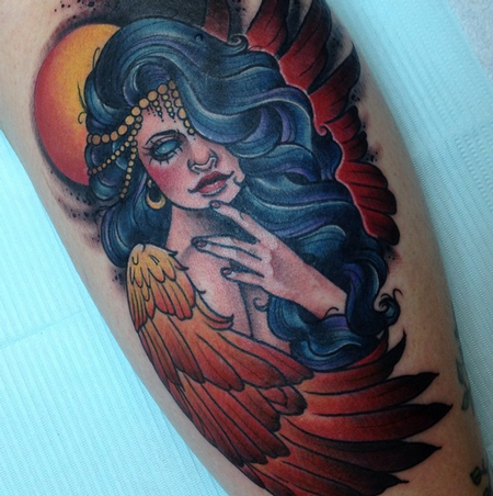 Phoenix Woman Tattoo Design