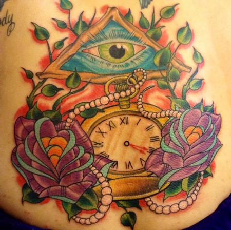 Tattoos - Pocket Watch with Roses and Eye Tattoo - 100390