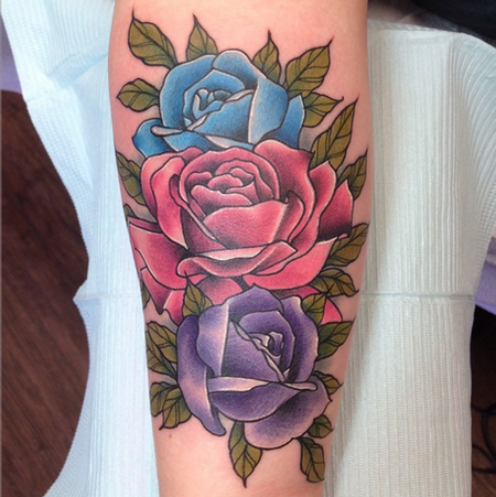 Birthdate Colors Roses Tattoo Tattoo Design Thumbnail