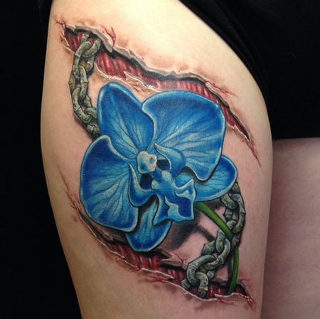 Tattoos - Skin Tear Chain and Orchid Tattoo - 98985