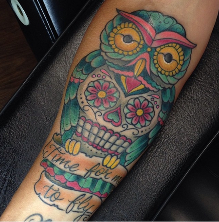 Sugar Skull Owl Tattoo  Design Thumbnail