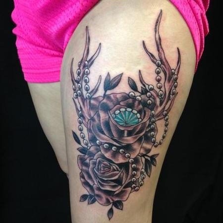 Tattoos - Flowers/Antlers/Gem - 109923