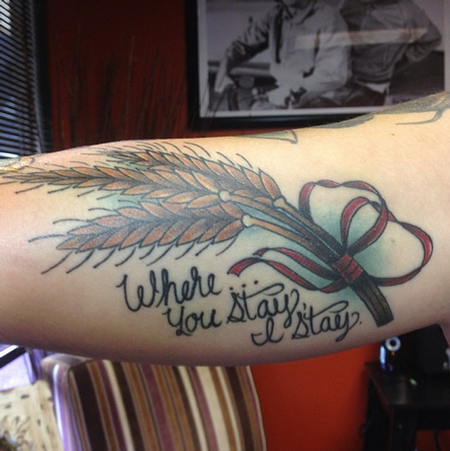 wheat and lettering tattoo by sam frederick tattoos