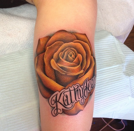 Depiction Tattoo Gallery : Tattoos : Feminine : Yellow Rose Tattoo