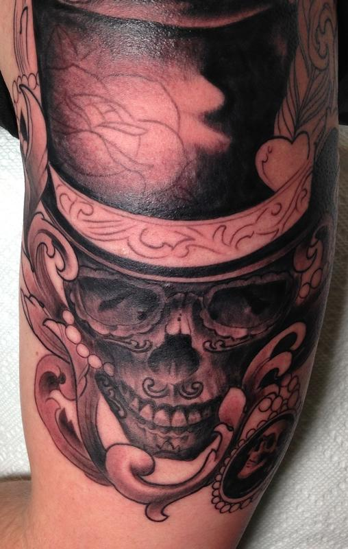 skull with top hat by mr jones tattoonow. Black Bedroom Furniture Sets. Home Design Ideas