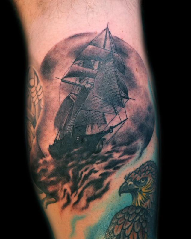 Old ship black and grey by diego tattoonow for Great falls tattoo shops