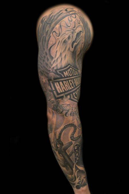 Off the map tattoo tattoos body part arm sleeve for Black and grey sleeve tattoos