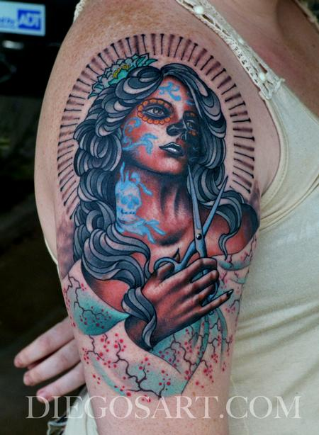 Tattoos - Day Of The Dead Girl With Shears Tattoo - 84160
