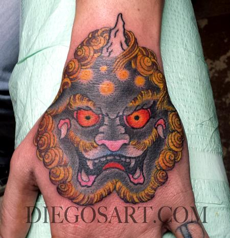 Tattoos - Foo Dog on Hand Tattoo - 84283