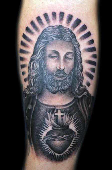 Tattoos jesus portrait black and grey 58190 for Tattoos of black jesus