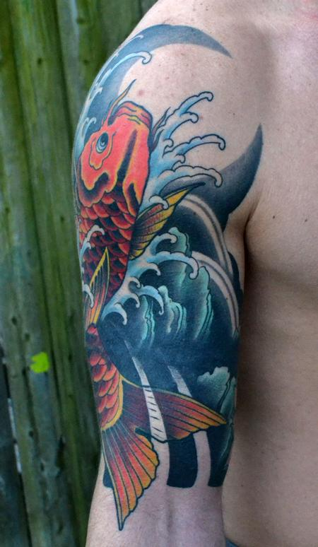 Koi fish sleeve cover up by diego tattoonow for Koi fish cover up