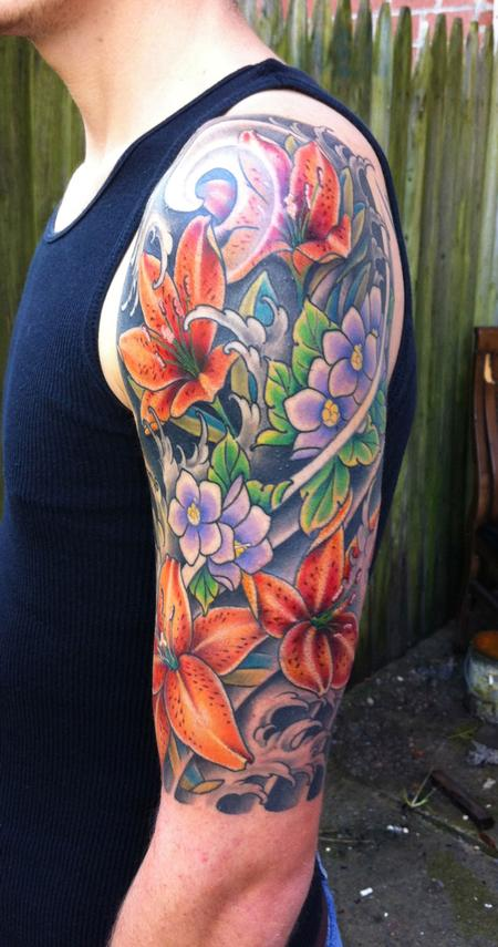 Japanese Flower Sleeve Tattoo