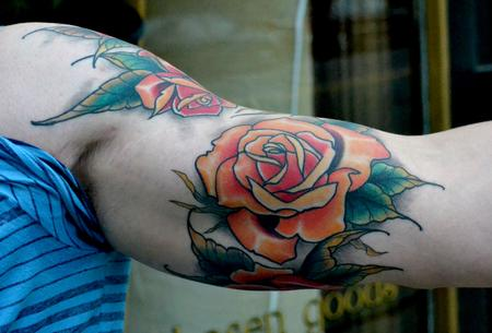 Tattoos - Roses Sleeve All Healed - 77026