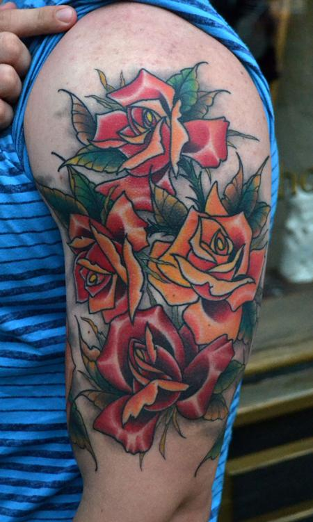 Tattoos - Roses Sleeve All Healed - 77025