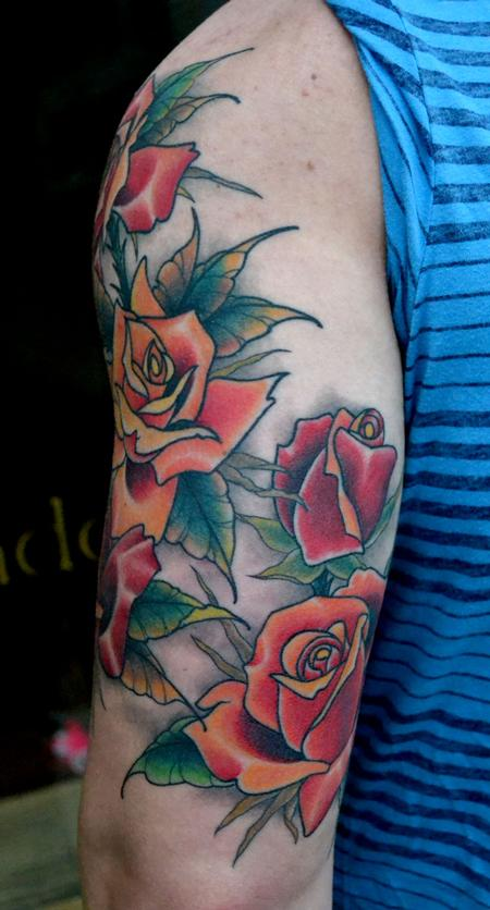 Tattoos - Roses Sleeve All Healed - 77023