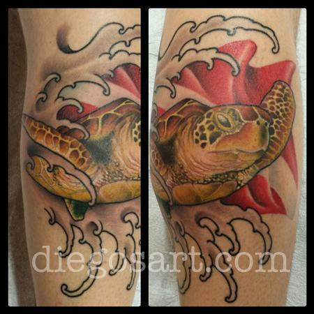 Tattoos - Sea Turtle with Diver Flag - 78805