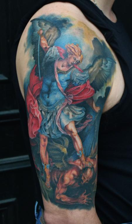 Tattoos - St. Michael Tattoo Healed - 77032