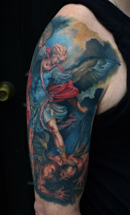 Tattoos - St. Michael Tattoo Healed - 77030