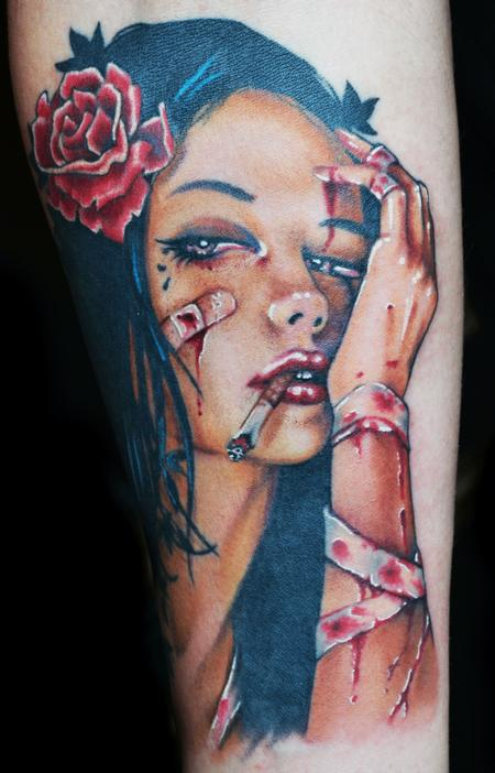 Diego - Viveros Pinup Girl Color Tattoo