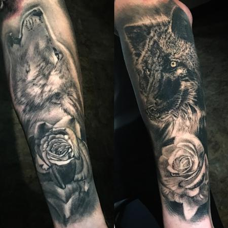 Tattoos - black and grey wolves and roses tattoo - 130640