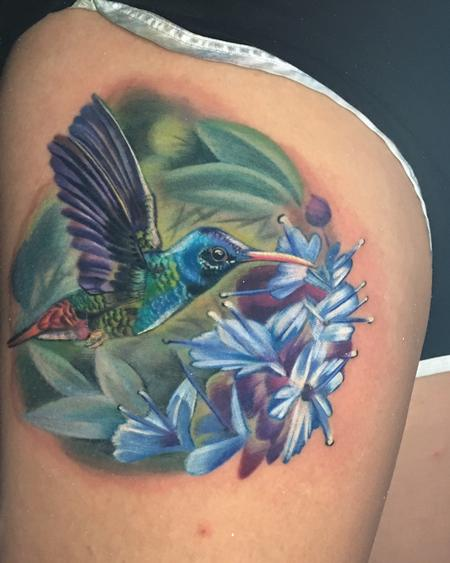 Misty Locket - color realism hummingbird tattoo