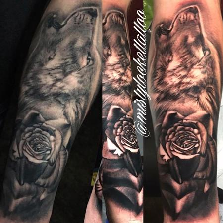 Tattoos - Black and grey wolf with rose - 132213