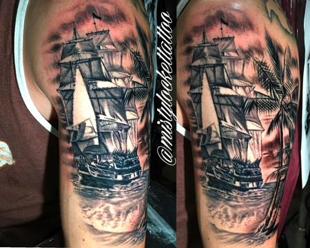 Tattoos - Black and grey pirate ship - 132214