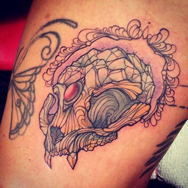 Diamond cat skull by giulia frederica tattoos for Don t tell mom tattoo