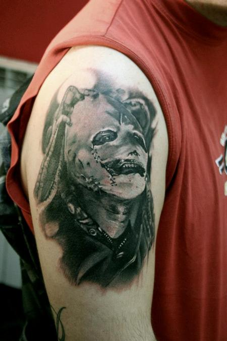 Realistic portrait in black and grey Tattoo Design