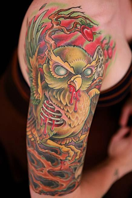 Color Tree and Evil Owl Tattoo Tattoo Design Thumbnail