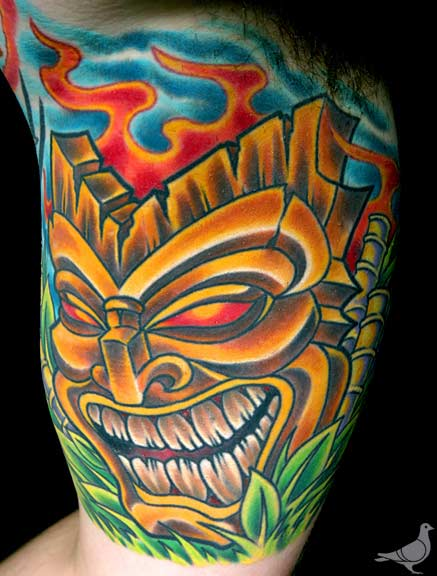 Tiki god by durb tattoonow for Polynesian tiki tattoo