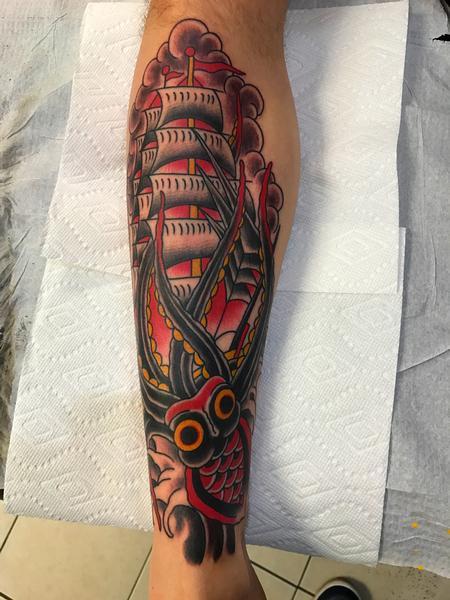 Tattoos - KRAKEN and SHIP - 125655