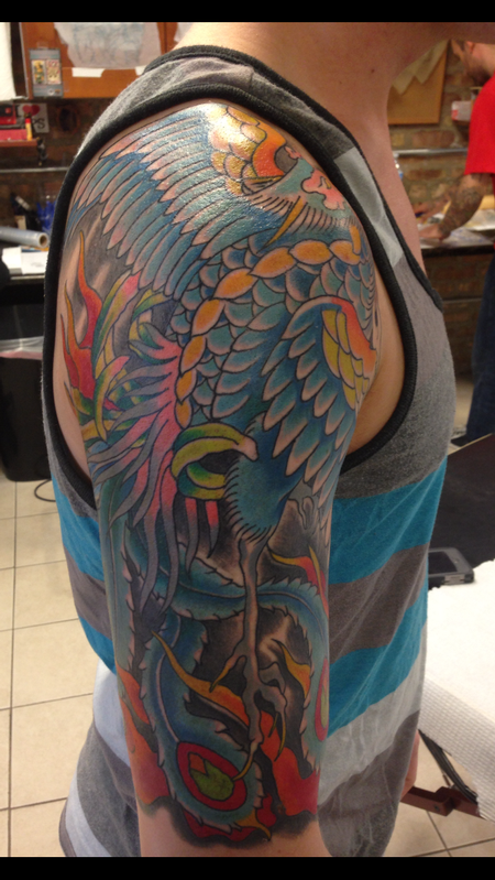 Deluxe tattoo tattoos traditional old school phoenix for Japanese tattoo chicago