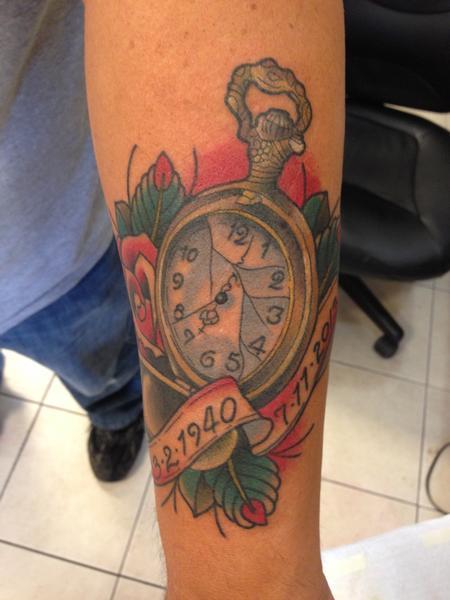 Pocket watch tattoo skull