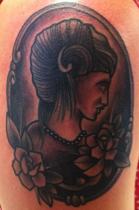 Tattoos - Black and Gray tattoos - GIRL HEAD AND ROSES