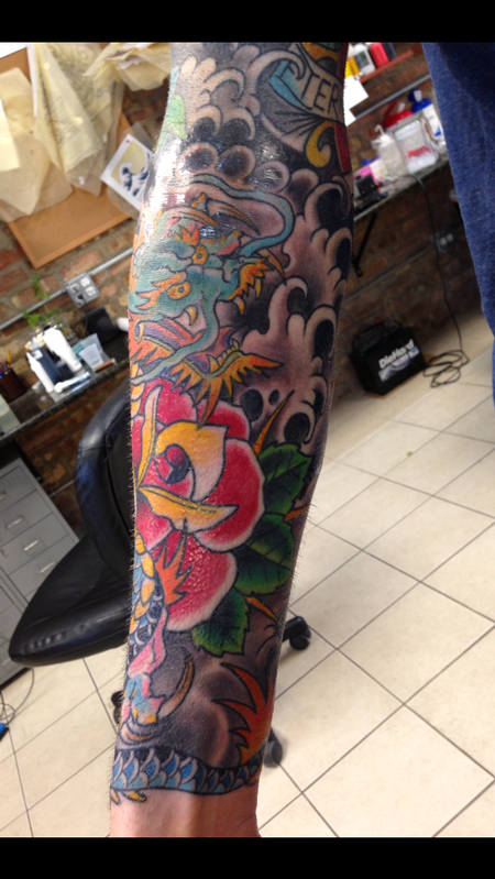Deluxe Tattoo Tattoos Traditional Old School Dragon And Roses