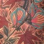 FLOWER AND MAPLE LEAVES Tattoo Design Thumbnail