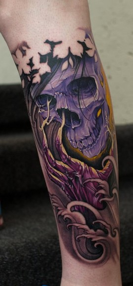 Johan finne 39 s tattoo designs tattoonow for Color skull tattoos