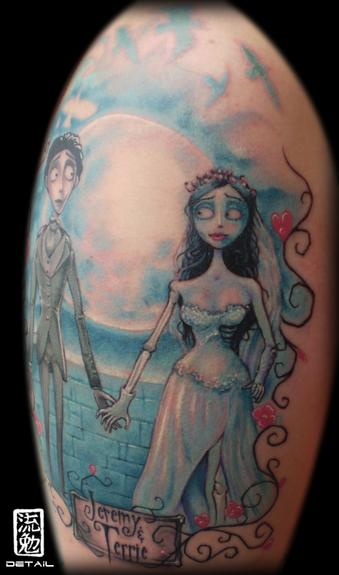 corpse bride 1 4 sleeve detail 4 hours by eddie loven tattoonow. Black Bedroom Furniture Sets. Home Design Ideas