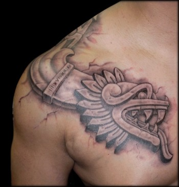 Aztec Tattoos on Tattoos   Eddie Loven   Page 7   Aztec Snake   Freehand   3